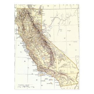 Mapa del vintage de California (1878) Postales