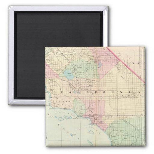 Mapa del vintage de California meridional (1874) Imán Cuadrado