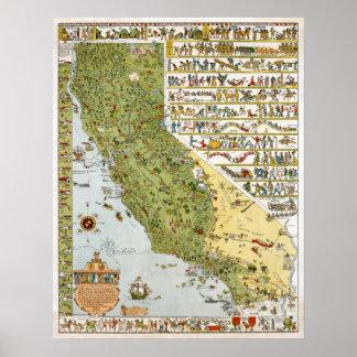 Mapa del vintage de California Póster