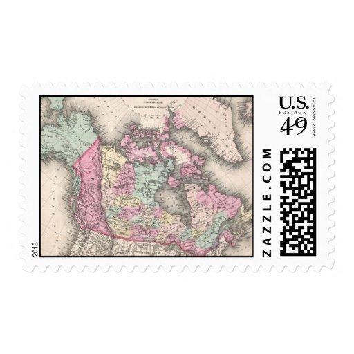 Mapa del vintage de Canadá (1857) Sellos