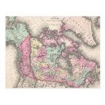 Mapa del vintage de Canadá (1857) Tarjetas Postales