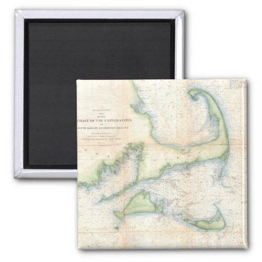 Mapa del vintage de Cape Cod (1857) Imanes De Nevera