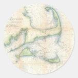Mapa del vintage de Cape Cod (1857) Etiquetas Redondas