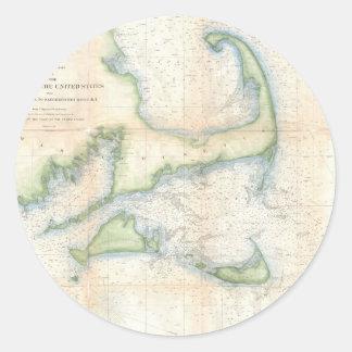 Mapa del vintage de Cape Cod (1857) Pegatina Redonda