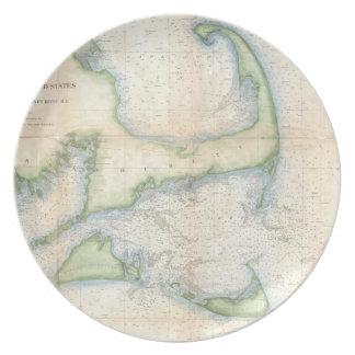 Mapa del vintage de Cape Cod (1857) Platos De Comidas
