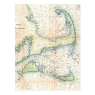 Mapa del vintage de Cape Cod (1857) Postal