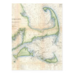 Mapa del vintage de Cape Cod (1857) Postales