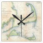 Mapa del vintage de Cape Cod (1857) Reloj De Pared