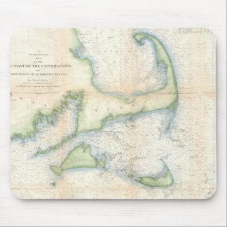 Mapa del vintage de Cape Cod (1857) Tapetes De Raton