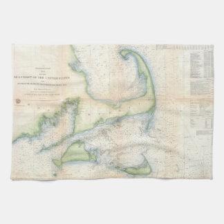 Mapa del vintage de Cape Cod (1857) Toallas De Mano