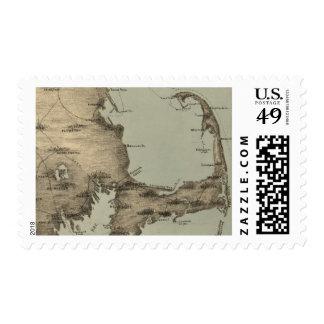 Mapa del vintage de Cape Cod (1885) Estampilla