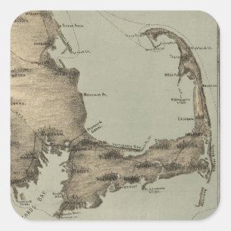 Mapa del vintage de Cape Cod (1885) Pegatina Cuadrada
