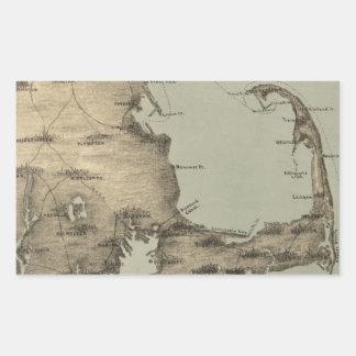 Mapa del vintage de Cape Cod (1885) Pegatina Rectangular