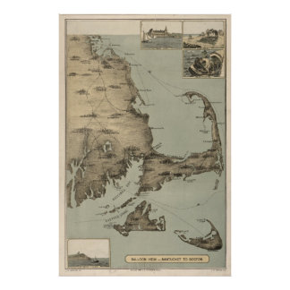 Mapa del vintage de Cape Cod (1885) Póster