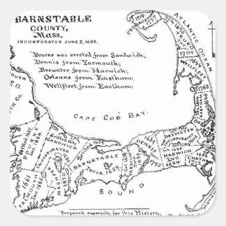 Mapa del vintage de Cape Cod (1890) Pegatina Cuadrada