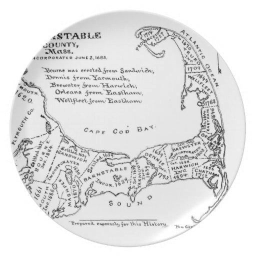 Mapa del vintage de Cape Cod (1890) Plato Para Fiesta