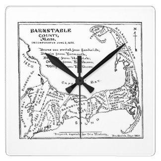 Mapa del vintage de Cape Cod (1890) Reloj De Pared