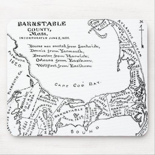 Mapa del vintage de Cape Cod (1890) Tapete De Ratones