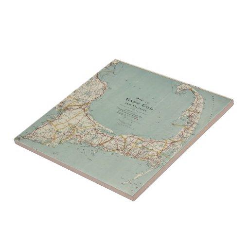 Mapa del vintage de Cape Cod (1917) Azulejo Cuadrado Pequeño