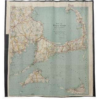 Mapa del vintage de Cape Cod (1917) Cortina De Baño