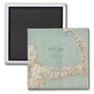 Mapa del vintage de Cape Cod (1917) Imán Cuadrado