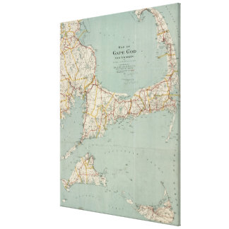 Mapa del vintage de Cape Cod (1917) Impresión En Lona Estirada