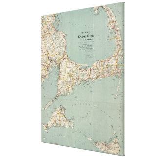 Mapa del vintage de Cape Cod (1917) Impresiones En Lienzo Estiradas