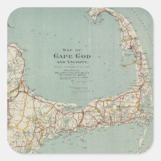 Mapa del vintage de Cape Cod (1917) Pegatina Cuadrada
