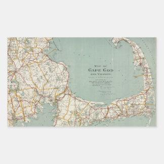Mapa del vintage de Cape Cod (1917) Pegatina Rectangular