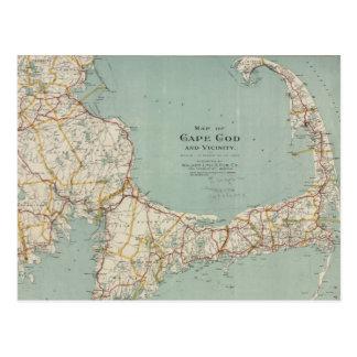 Mapa del vintage de Cape Cod (1917) Postales