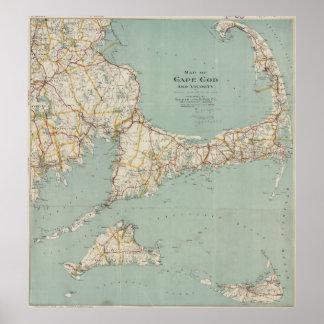 Mapa del vintage de Cape Cod (1917) Póster