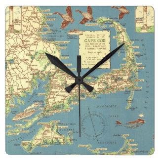 Mapa del vintage de Cape Cod (1940) Reloj Cuadrado