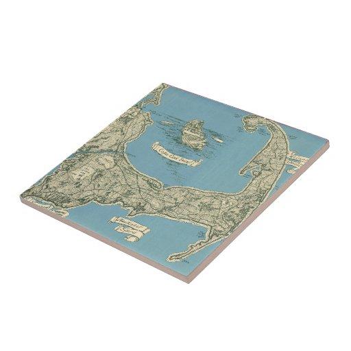 Mapa del vintage de Cape Cod (1945) Azulejo Cuadrado Pequeño