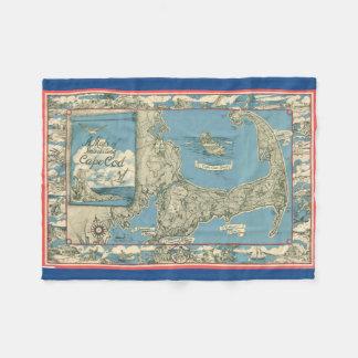 Mapa del vintage de Cape Cod (1945) Manta De Forro Polar