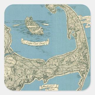 Mapa del vintage de Cape Cod (1945) Pegatina Cuadrada