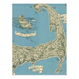 Mapa del vintage de Cape Cod (1945) Postal