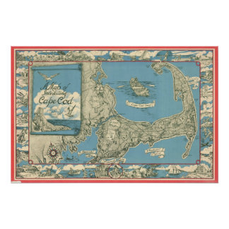 Mapa del vintage de Cape Cod (1945) Póster