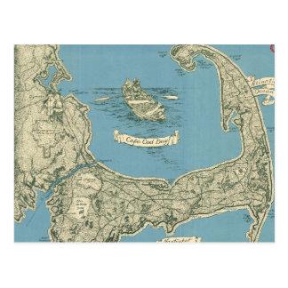 Mapa del vintage de Cape Cod (1945) Tarjeta Postal