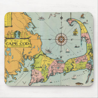 Mapa del vintage de Cape Cod Alfombrilla De Raton