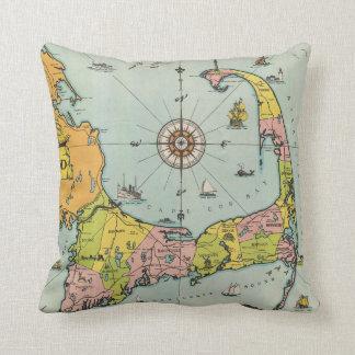 Mapa del vintage de Cape Cod Cojines