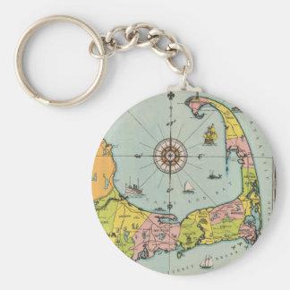 Mapa del vintage de Cape Cod Llavero Redondo Tipo Pin