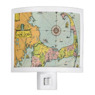 Mapa del vintage de Cape Cod Luces De Noche