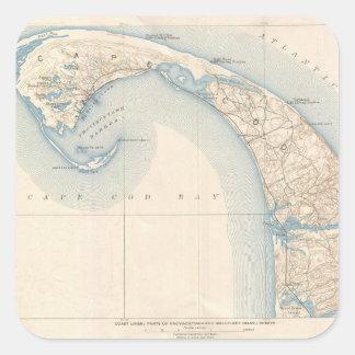 Mapa del vintage de Cape Cod más bajo Pegatina Cuadrada