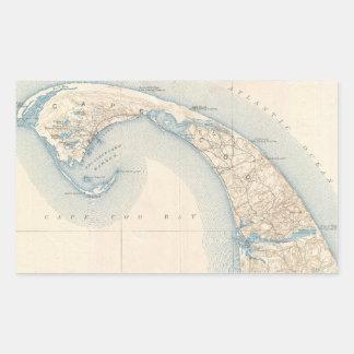 Mapa del vintage de Cape Cod más bajo Pegatina Rectangular