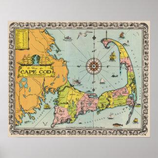 Mapa del vintage de Cape Cod Posters