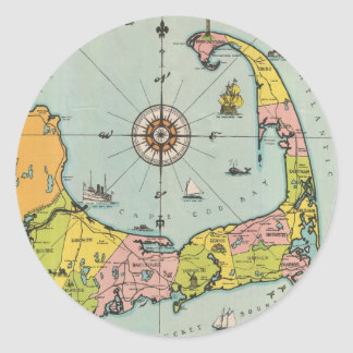 Mapa del vintage de Cape Cod Etiquetas Redondas