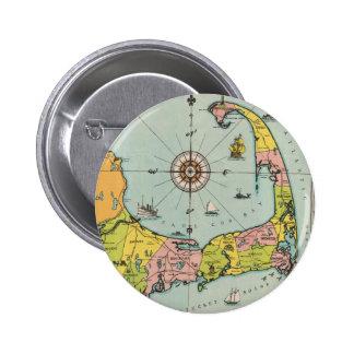 Mapa del vintage de Cape Cod Pin Redondo 5 Cm