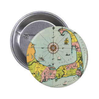 Mapa del vintage de Cape Cod Pin Redondo De 2 Pulgadas