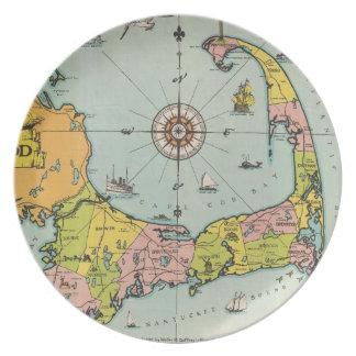 Mapa del vintage de Cape Cod Platos