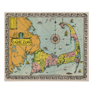 Mapa del vintage de Cape Cod Póster